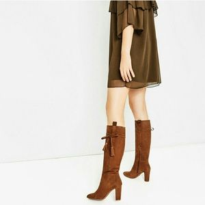 Zara • 38 (7.5) • Tall High Heel Leather Boot